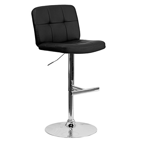 Swivel Adjustable Express Height Stool (Contemporary Tufted Black Vinyl Adjustable Height Barstool with Chrome Base)