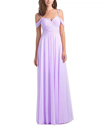 - LIUJIAHUI Women's Long Chiffon Off The Shoulder Bridesmaid Dresses Ruched Design Prom Formal Party Dress Lavender
