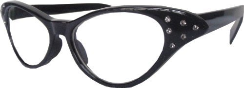 Revive Eyewear Women's 50's Diamante Faux Retro Geek Black Frame/ Black Lens Non Polarized Glasses - Uk Glasses Geek