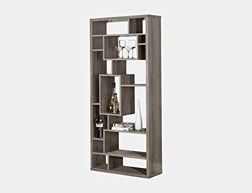 BUkk Wood Geometric Bookcase - Bookcase with 14 Asymmetrical Shelves - Dark Taupe