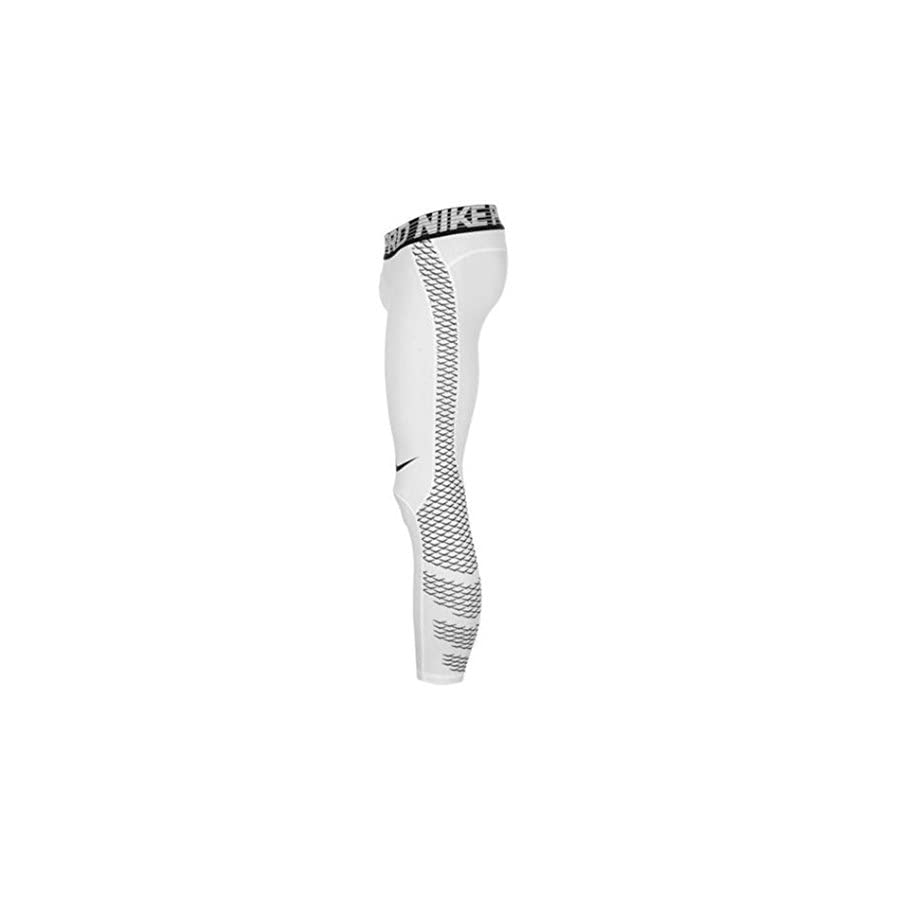 NIKE Men's Pro Tights (Medium, White/Pulse Silver/Black)