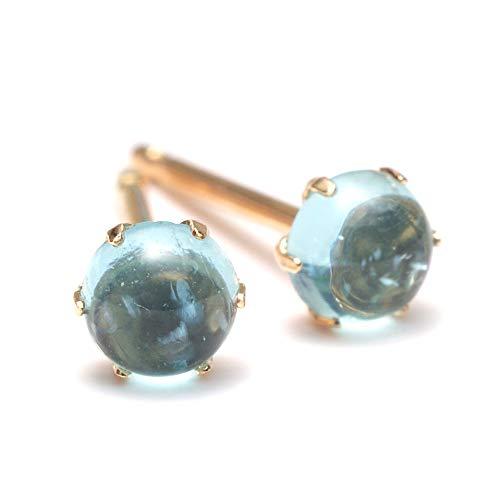 A.UN jewelry 타이트 4mm 귀걸이 카보 숑 컷 K18YG 【 타이트 】 / A.UN jewelry Apatite 4mm Piercing Cabochon K18YG [Apatit