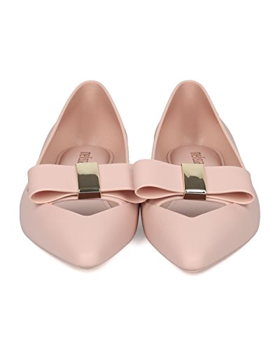 Melissa Ballerina Donna Gelatina Piatta - Punta Appuntita Piatta - Farfallino Slip On Keyhole Walker - Maisie Ii Di Gelatina Rosa Chiaro