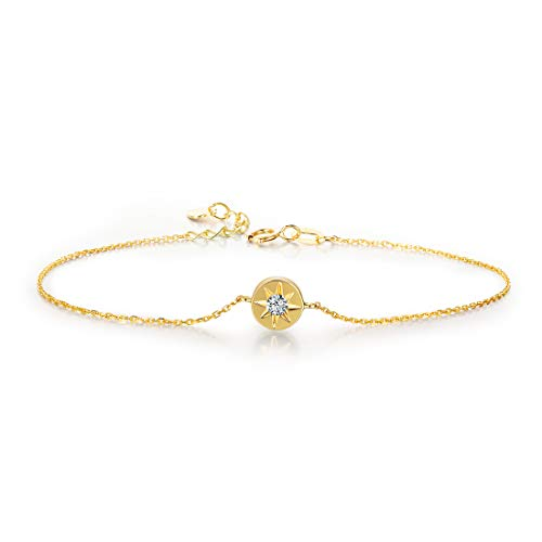 (Carleen 18K Solid Yellow Gold Round Circle Diamond Star Forever Love Friendship Bracelet For Women Girls, 6