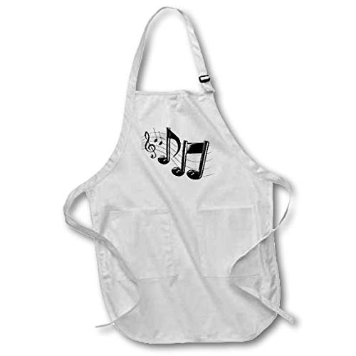 with Pouch Pockets 3dRose Music Notes 22 by 24-Inch Medium Length Apron apr/_4105/_2