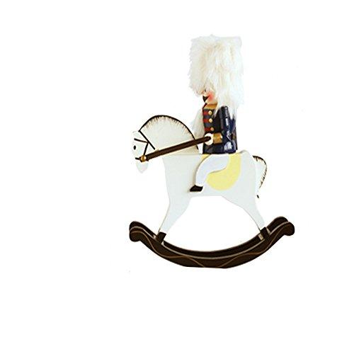 MallBoo Wooden Nutcracker Soldier on Rocking Horse, 11.0 Inches