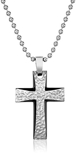 Men's Two-Tone Stainless Steel Hammered Texture Cross Pendant Necklace, 22