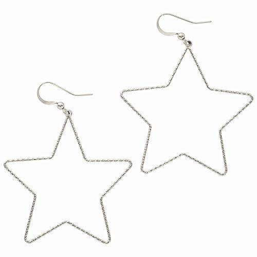 And Lovely 14K Gold Dipped Star Earrings - Hypoallergenic Lightweight Fun Statement Drop Dangle Earrings (Diamond Cut Silver Star Drop)
