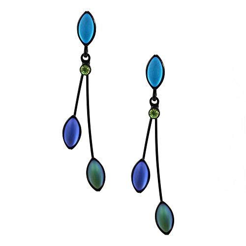 Kristina Collection 2 Branch Leaf Drop Stud Earrings, Blue and Green Czech Glass on Black Memory Wire