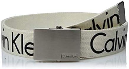 [해외]Calvin Klein Men`s 38mm Printed Web Belt with Logo / Calvin Klein Men`s 38mm Printed Web Belt with Logo, White, M