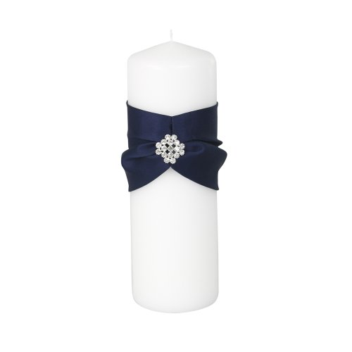 Ivy Lane Design Garbo Collection Unity Pillar Candle for Weddings, Navy - Candle Collection Unity