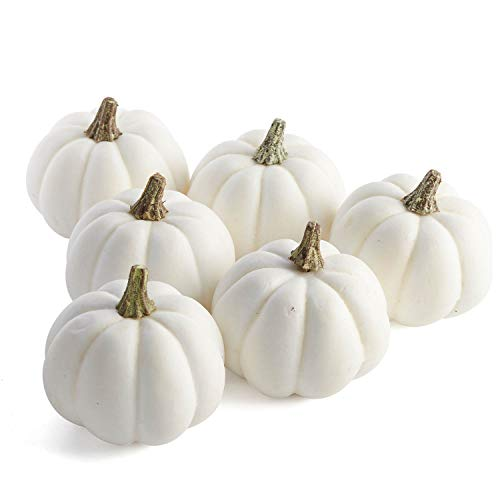 Package of 6 Artificial White Baby Boo Pumpkins for Halloween, Fall and Thanksgiving Decorating