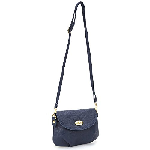 Ladies mini small handbag crossbody shoulder messenger bag, 7 colours Dark Blue