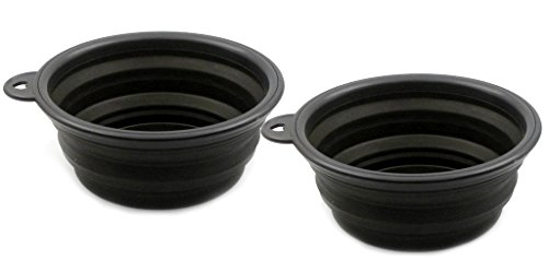 Pet Leso 2pcs Pop-up Pet Bowl Travel Bowl Water Feeder Bowl Portable Bowl For Dogs Cats -Black by Pet Leso