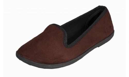 Cursor! By Soda Cute and Comfy Ladies Smoking Flat Slippers in Mocha Faux Suede 7svlzSMZbt