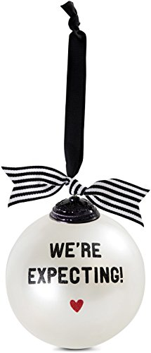 Pavilion Gift Company 63043 We're Expecting Glass Ornament, 4-Inch