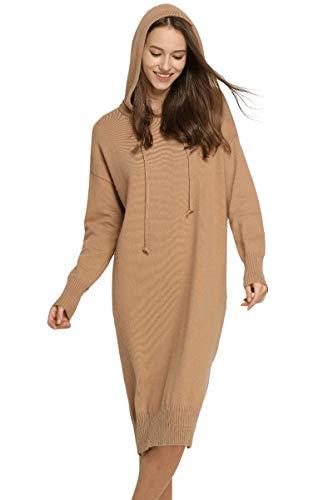 VenuStar Womens Casual Long Hoodies Cashmere Hoodie Casual Dress V Neck with Pocket (Khaki