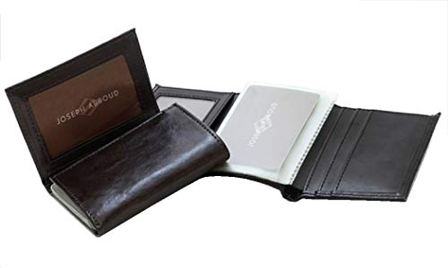 JOSEPH ABBOUD Genuine Leather Passcase Trifold Wallet for Men Black