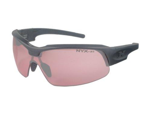 Shooting Glasses Vermilion Lenses - NYX Sport Vision PRO Z-17 Series Sunglass with Z87.1 Safety Rating, Matte-Black Frame/Light Vermillion Safety Lens, Medium