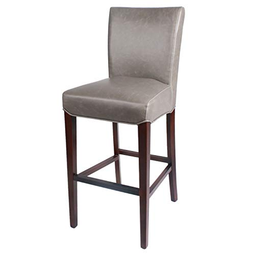 (New Pacific Direct 268530B-V04 Milton Bonded Leather Bar Bar & Counter Stools, Vintage Gray)