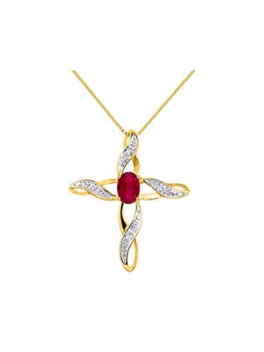 RYLOS Simply Elegant Beautiful Red Ruby & Diamond Pendant Necklace - July Birthstone
