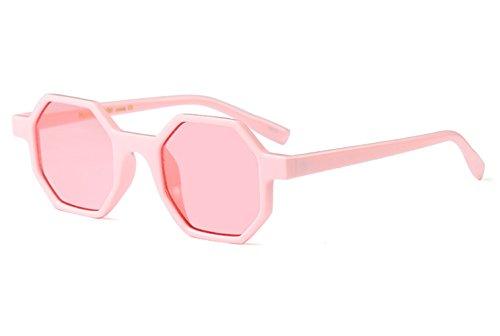 Lentille Petit Solaire Hommes De Rose Plastique Femmes Vintage Pour et Rose Cadre Lunettes Hexagone Protection wOxZFwqf