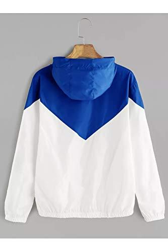 Bloccare Blu Giacca Manica Taglia Sopliagon Di Incappucciato Lunga La Le Colore Cerniera Donne 6nAqwpz7I