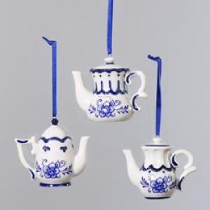 Kurt Adler Porcelain Delft Blue Teapot Christmas Tree Ornaments
