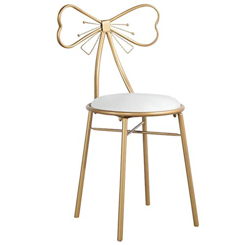 Chair Bow High - Mustbe Strong Modern Iron High Bar Stools for Kitchen, Gold Bow Barstools with White Faux Leather Cushion, Lady's Dressing Chair, Seat Height 45/65/75cm,White,45CM