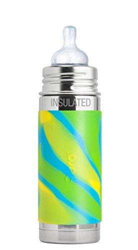 Infant Bottle Sports - Pura Kiki 9 Oz / 260 Ml Stainless Steel Insulated Infant Bottle With Silicone Medium-flow Nipple & Sleeve, Aqua Swirl (plastic Free, Nontoxic Certified, Bpa Free)
