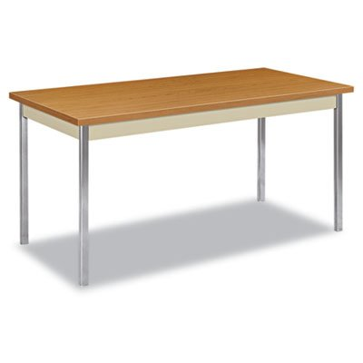 Hon Utility Table With Putty And Chrome Leg Finish  60  X 30   Harvest