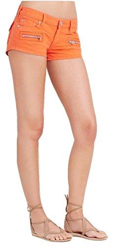True Religion Women's Joey Zip Denim Shorts (24, Orange)