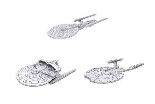 WizKids Star Trek Deep Cuts Unpainted Miniatures Federation Ships Bundle: Excelsior Class + Miranda Class + NX Class