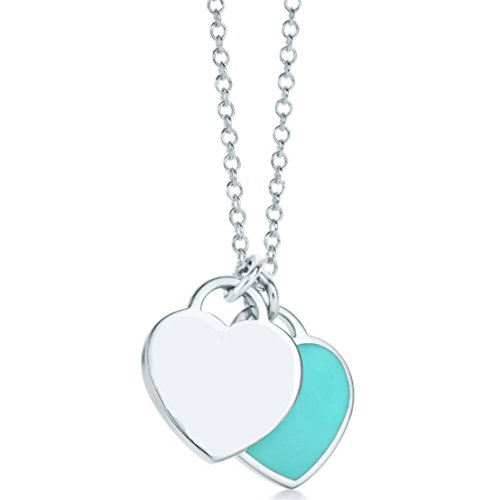 Sterling Silver Double Heart Tag Pendant Necklace Blue