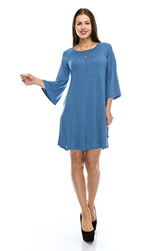 NELLY Plus Size Flowy Tunic Tank Fashion Denim Blue Dress w/ Scoop Neck Swing Top and Trendy Flowy Bell Sleeve - Made in USA - 2017/2018 Collection - (Plus Size Fairy Dress)