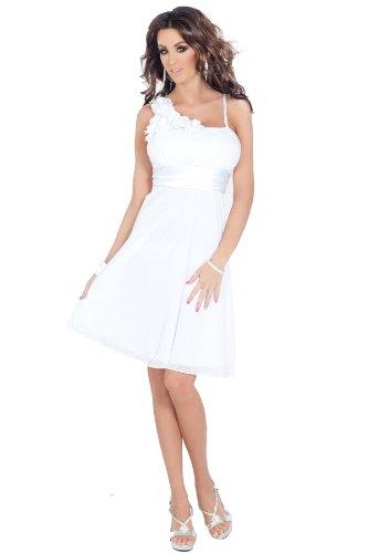 H1350 weiß ärmel Floral Designer Empire-Taille Sheer Overlay knielangen Cocktail-Abend-Partei-Brautjungfer Abendkleid [Color White UK SIZE Medium (10-12) DEUTSCHLAND SIZE (38-40)]