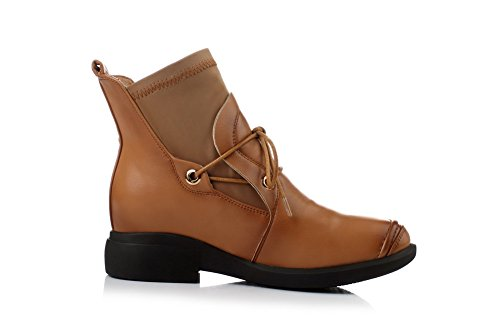 Women's PU and Heels Platform Low Thread Boots Allhqfashion with Yellow d50wW