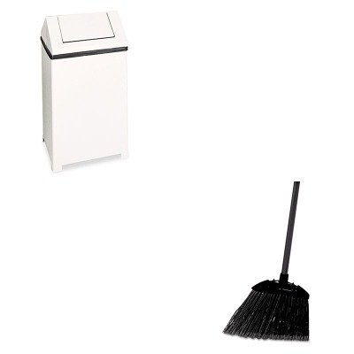 KITRCP637400BLARCPT1940ERBWH - Value Kit - Rubbermaid Fire-Safe Swing Top Receptacle (RCPT1940ERBWH) and Rubbermaid-Black Brute Angled Lobby Broom (RCP637400BLA) by Rubbermaid