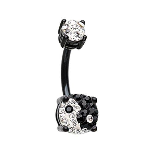 (Black Yin Yang Sprinkle Dot Gem Prong Sparkle Navel Belly Button Ring 14GA 3/8