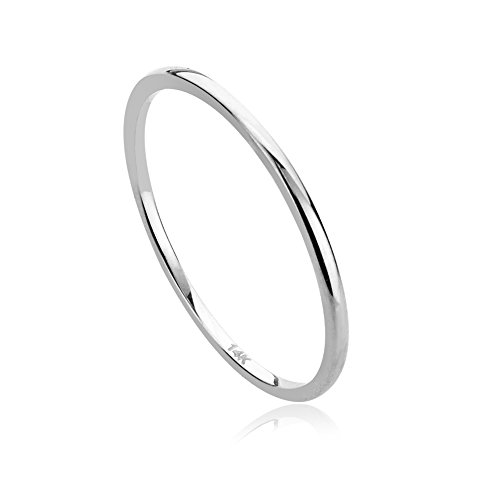 14K White Gold 1mm Thin Domed Wedding Band Ring, 5 ()