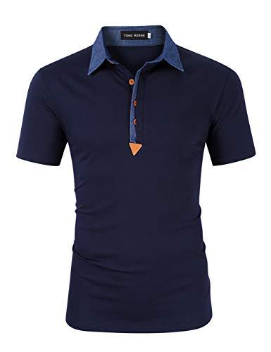 Yong Horse Men's Polos T-Shirt Cool Short Sleeve Work Polo Shirts Blue L