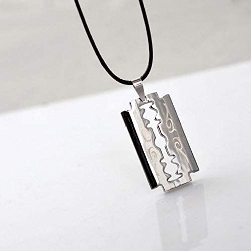 As the picture SELITE 1pc Punk Stainless Steel Razor Blades Shaped Pendant Necklace for Men Cool Leather Rope Choker Fashion Jewelry Gift Necklace Man