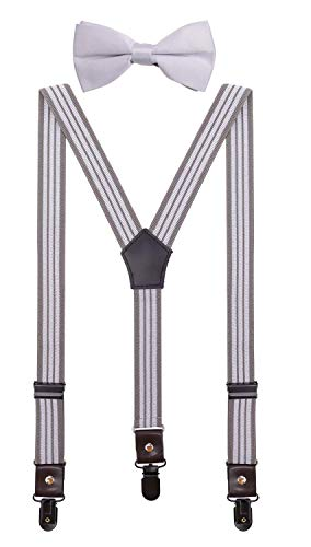 CEAJOO Toddler Boys' Suspenders and Bow Tie Set Adjustable with Black Metal Clips 24