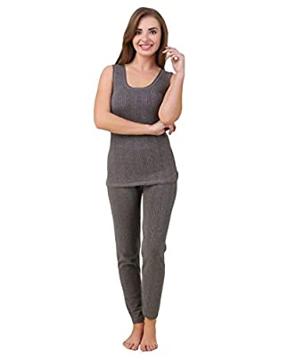 11241d3ef LUX Inferno Women s Cottom Thermal Sleeveless Slip and Slim Lower (Charcoal  Melange