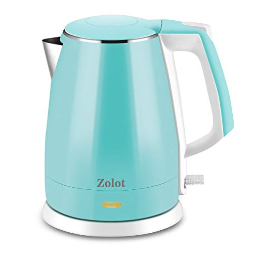 Zolot Electric Kettle BPA Free , Double Wall Hot Water Boiler Heater, 100 Food Grade Stainless Steel Interior, Cool Touch Electric Teapot Heater Kettle, Auto Shut-Off and Boil-Dry Protection, Cordless, 1.5L, 2 Year Warranty