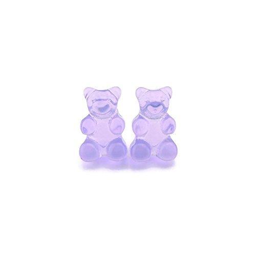Purple Gummy Bear Earrings on Hypoallergenic Plastic Posts for Metal Sensitive Ears