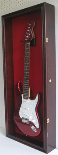 Mahogany Uv Protection Shadow Box For Electric Or Fender Guitar Locks- Red Felt