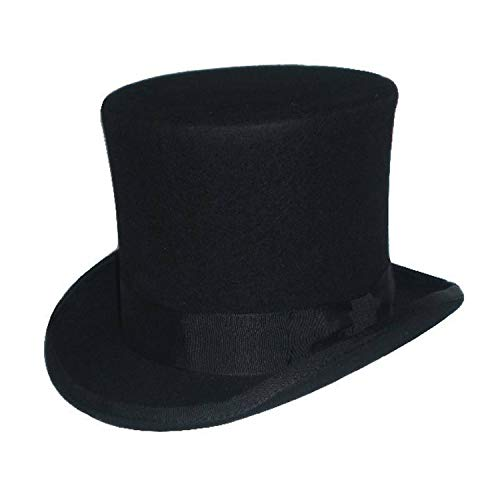 Steampunk Victorian Formal Top Hat Wool Felt Vintage Magician Fedoras Mad Hatter President Bowler Hat Black