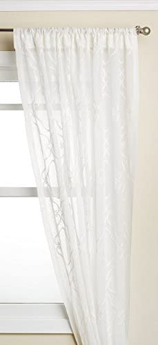 LORRAINE HOME FASHIONS Carlyle Window Curtain Panel, 50 x 63, White