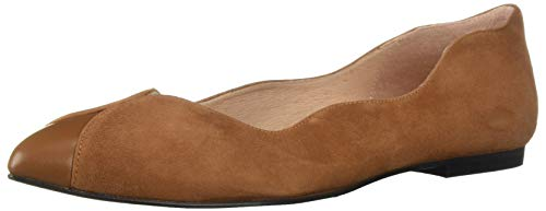 Suede Flats French Sole (French Sole FS/NY Women's Coop Ballet Flat, Saddle/Cognac, 8.5 M US)